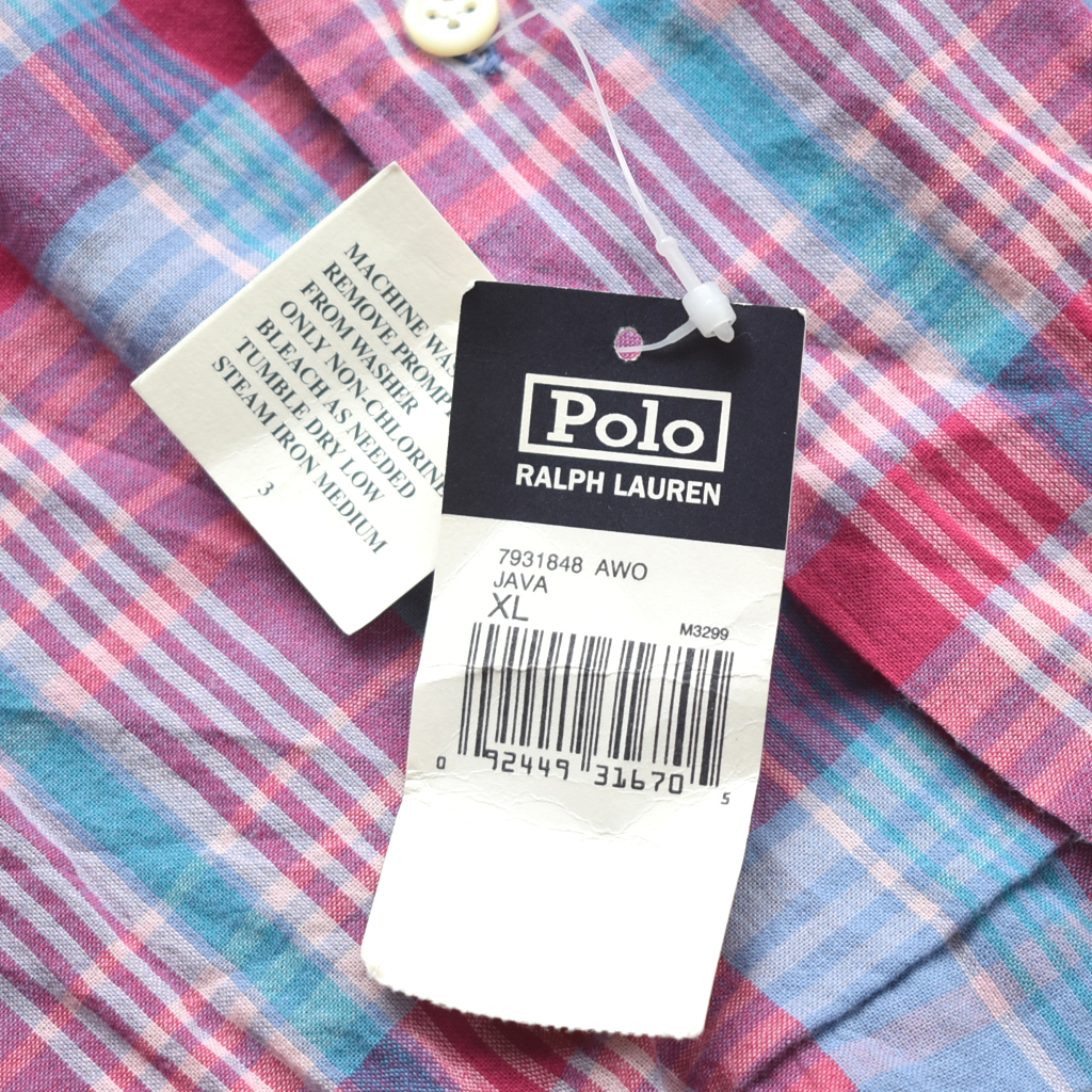 希少 デッドストック 90s POLO ラルフローレン インドマドラス オープンカラーシャツ 開襟 size.XL_画像5