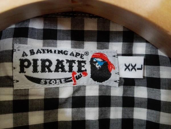 美品 a bating ape BAPE pirate store エイプ ベイプ パイレーツストアー 半袖 シャツ XXLサイズ チェック コットン Z6K60_画像4