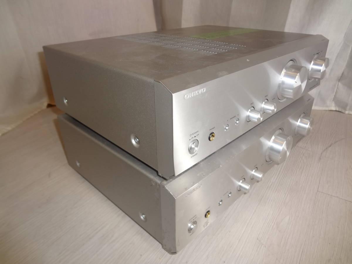 訳あり ONKYO プリメインアンプ A-973 2台セット ジャンク(説明欄参照)音確済 動作確認済 本体のみ 高音質アンプ オンキョー_画像2