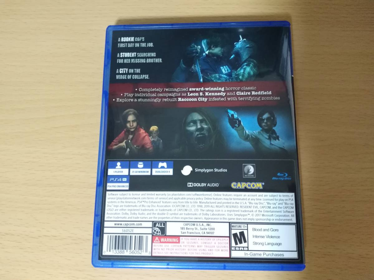 PS4「RESIDENT EVIL2 / バイオハザード Re:2」海外版_画像2