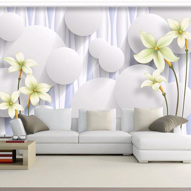 カスタムユリの花不織布壁壁画壁紙ロールベッドルームのリビングルームのソファの背景家の装飾壁の紙の花アート_画像4