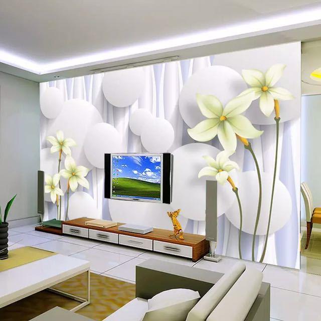 カスタムユリの花不織布壁壁画壁紙ロールベッドルームのリビングルームのソファの背景家の装飾壁の紙の花アート_画像2