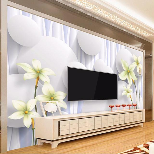 カスタムユリの花不織布壁壁画壁紙ロールベッドルームのリビングルームのソファの背景家の装飾壁の紙の花アート_画像5