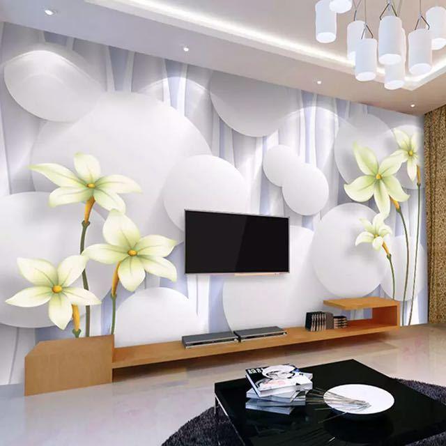 カスタムユリの花不織布壁壁画壁紙ロールベッドルームのリビングルームのソファの背景家の装飾壁の紙の花アート_画像3
