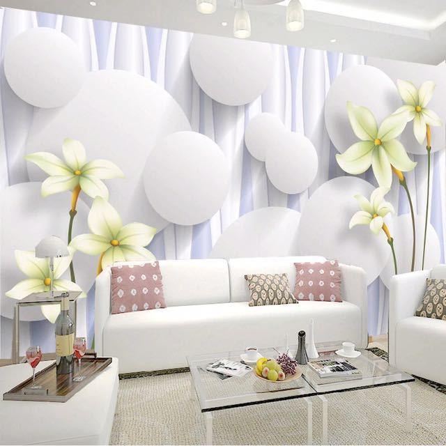 カスタムユリの花不織布壁壁画壁紙ロールベッドルームのリビングルームのソファの背景家の装飾壁の紙の花アート_画像1