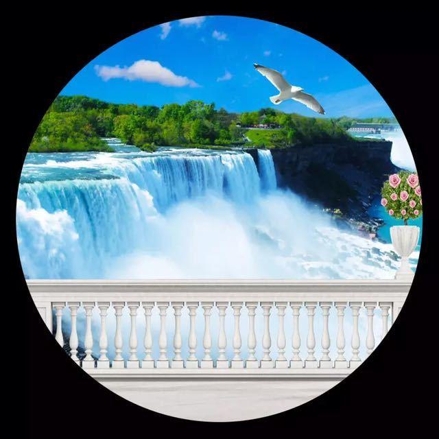 模擬バルコニー滝自然風景写真壁画リビングルームのテレビのソファの背景の壁不織布カスタムサイズ 3D 壁紙_画像3