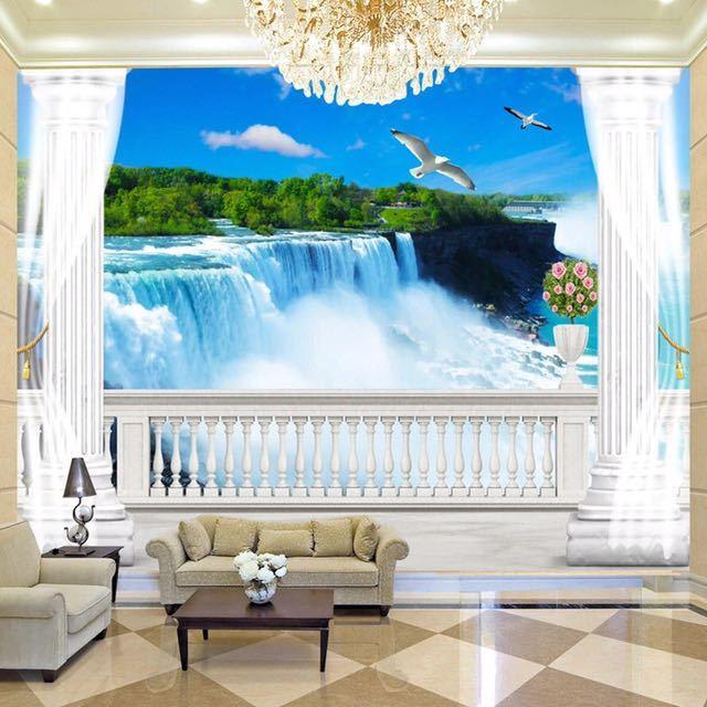 模擬バルコニー滝自然風景写真壁画リビングルームのテレビのソファの背景の壁不織布カスタムサイズ 3D 壁紙_画像1