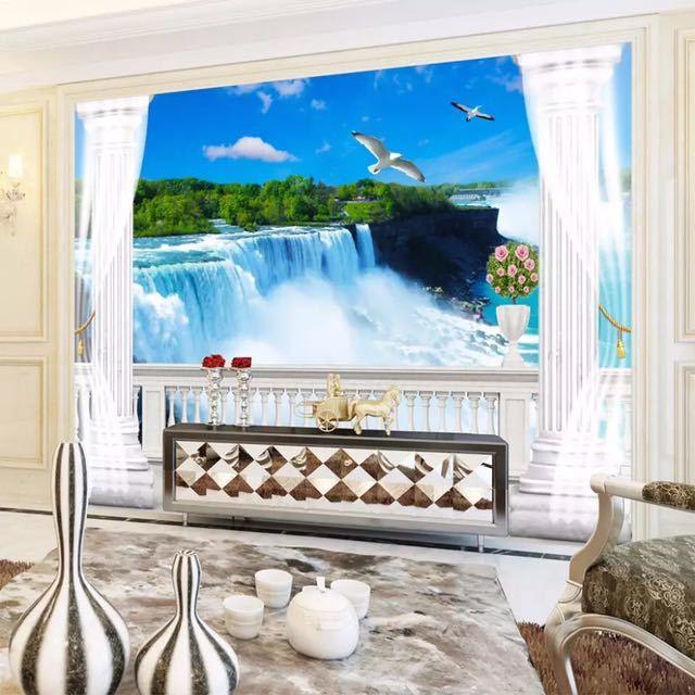 模擬バルコニー滝自然風景写真壁画リビングルームのテレビのソファの背景の壁不織布カスタムサイズ 3D 壁紙_画像2