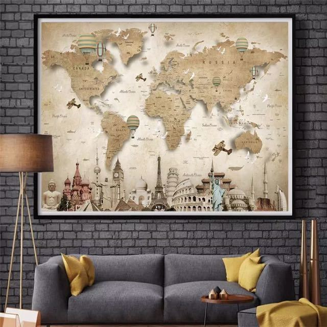 Beibehang レトロなノスタルジックな漫画の世界地図背景壁カスタム大壁画緑の壁紙 papel デ parede パラ四つ折り_画像3