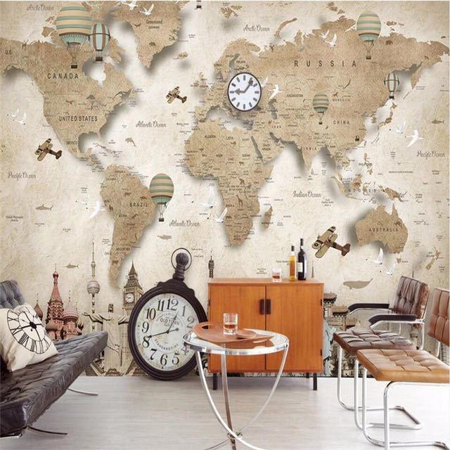 Beibehang レトロなノスタルジックな漫画の世界地図背景壁カスタム大壁画緑の壁紙 papel デ parede パラ四つ折り_画像4