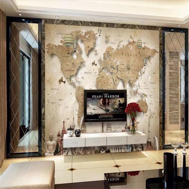 Beibehang レトロなノスタルジックな漫画の世界地図背景壁カスタム大壁画緑の壁紙 papel デ parede パラ四つ折り_画像2
