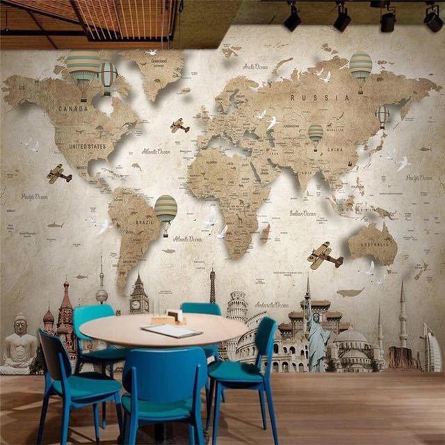 Beibehang レトロなノスタルジックな漫画の世界地図背景壁カスタム大壁画緑の壁紙 papel デ parede パラ四つ折り_画像1