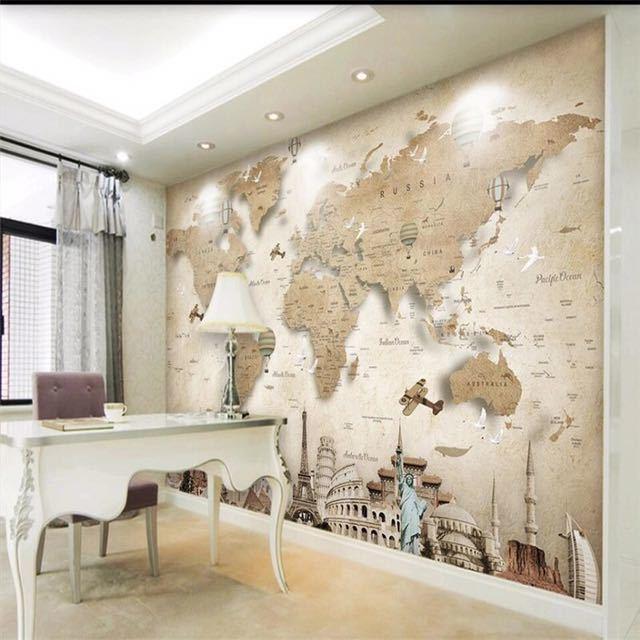 Beibehang レトロなノスタルジックな漫画の世界地図背景壁カスタム大壁画緑の壁紙 papel デ parede パラ四つ折り_画像5