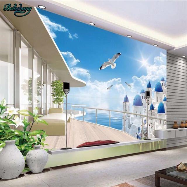 Beibehang 大カスタムエーゲバルコニー表示テレビリビングルームベッドルームの背景の壁家の装飾_画像1