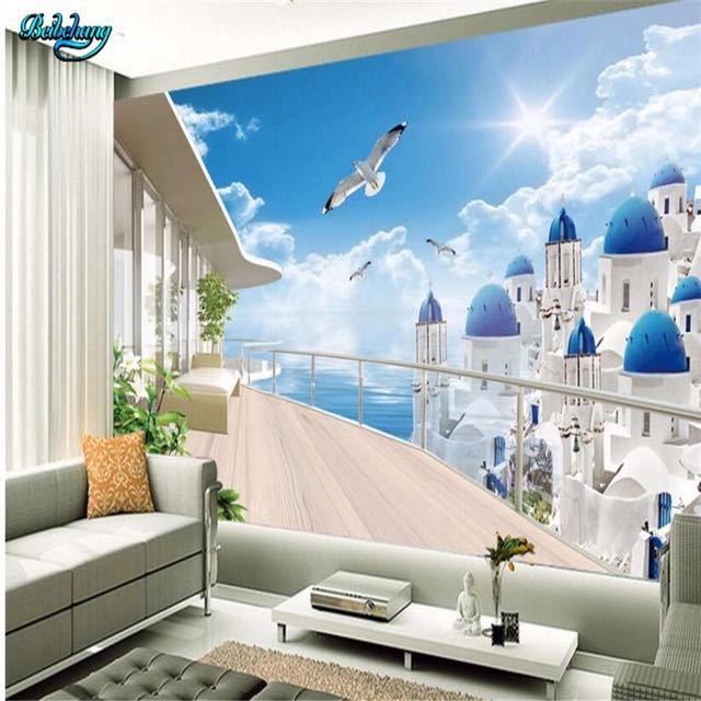 Beibehang 大カスタムエーゲバルコニー表示テレビリビングルームベッドルームの背景の壁家の装飾_画像2