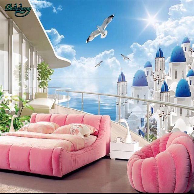 Beibehang 大カスタムエーゲバルコニー表示テレビリビングルームベッドルームの背景の壁家の装飾_画像4