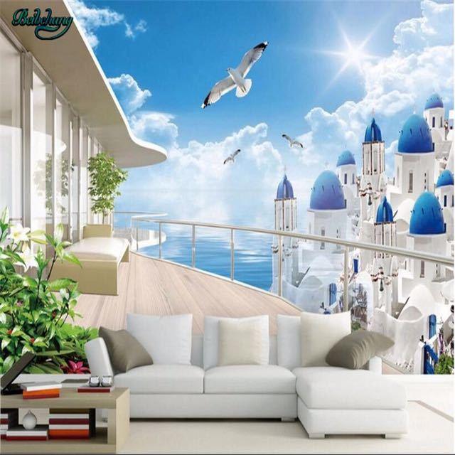 Beibehang 大カスタムエーゲバルコニー表示テレビリビングルームベッドルームの背景の壁家の装飾_画像5