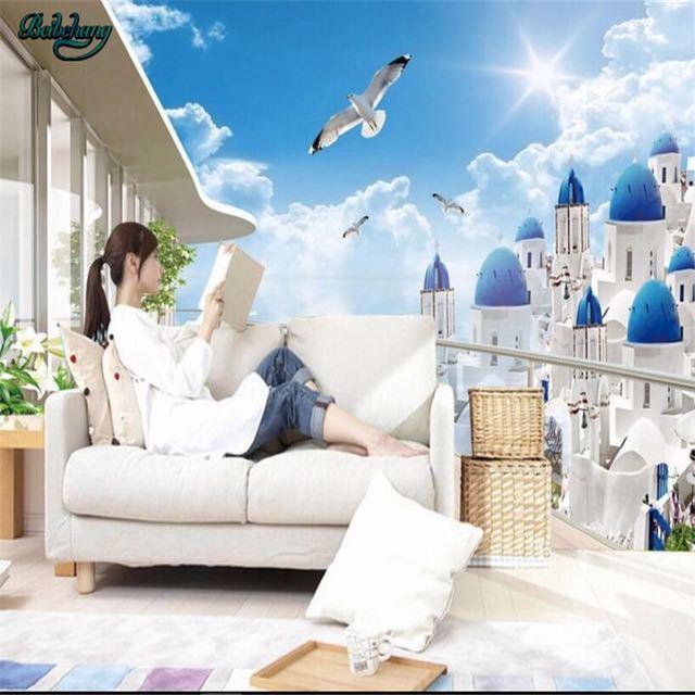 Beibehang 大カスタムエーゲバルコニー表示テレビリビングルームベッドルームの背景の壁家の装飾_画像3