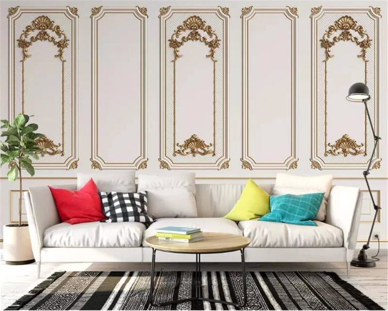 Beibehang カスタム任意のサイズ壁画壁紙 3D エンボス加工ドアフレーム石膏ヨーロッパスタイル壁画リビングルームオフィス 3d 壁紙_画像3