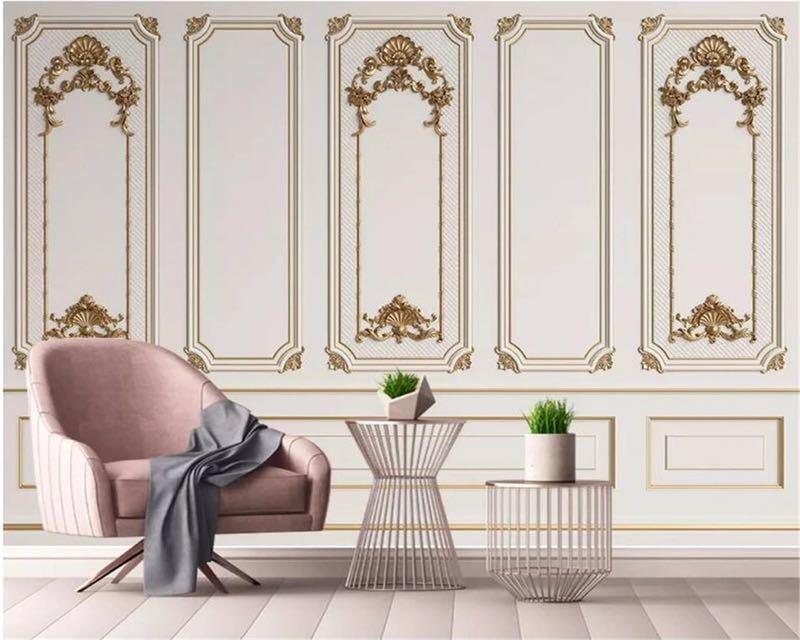 Beibehang カスタム任意のサイズ壁画壁紙 3D エンボス加工ドアフレーム石膏ヨーロッパスタイル壁画リビングルームオフィス 3d 壁紙_画像1