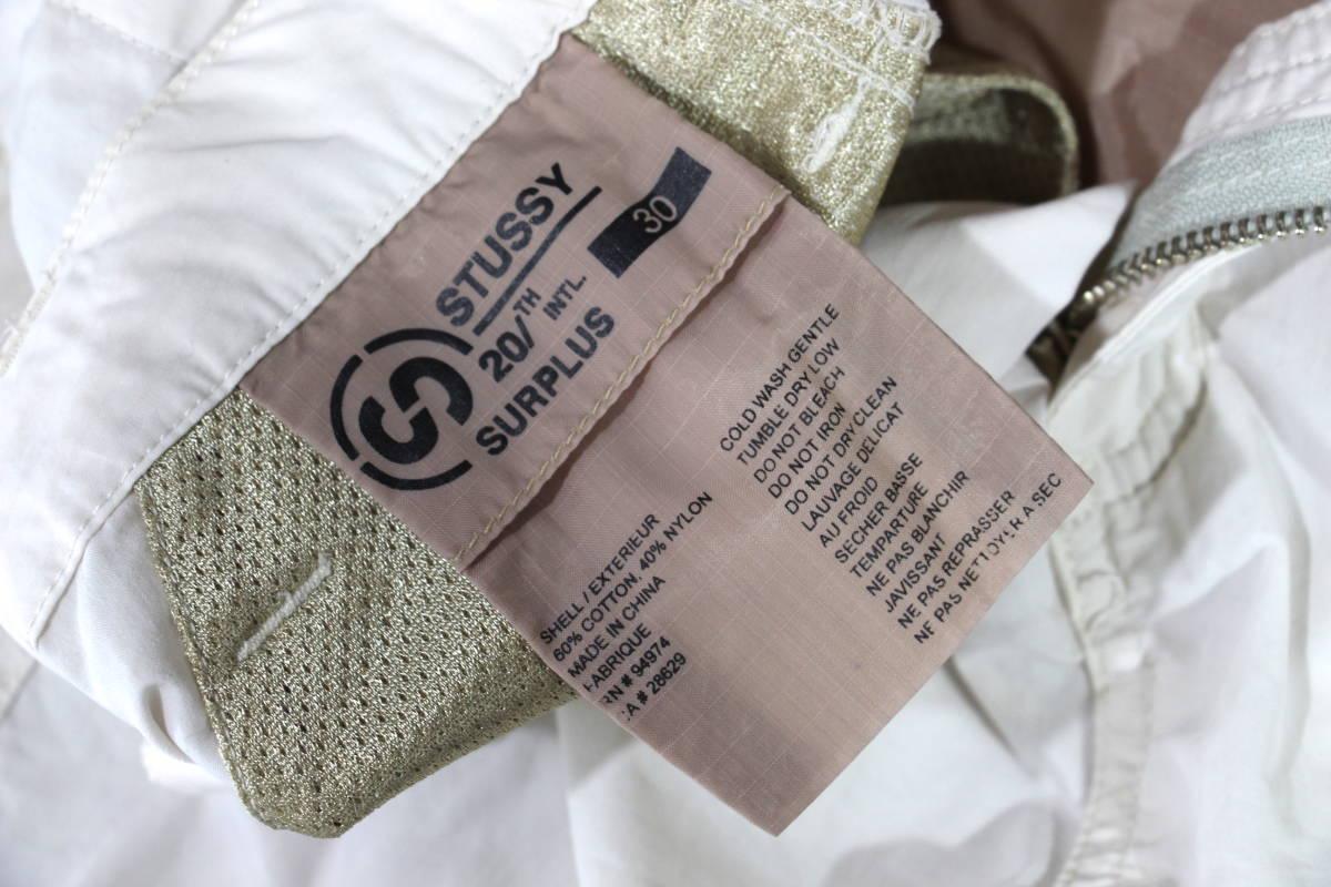 【激レア】90's STUSSY 20/th intl SURPLUS カーゴ ショーツ 30 ホワイト 白 ショートパンツ ハーフパンツ ステューシー_画像6
