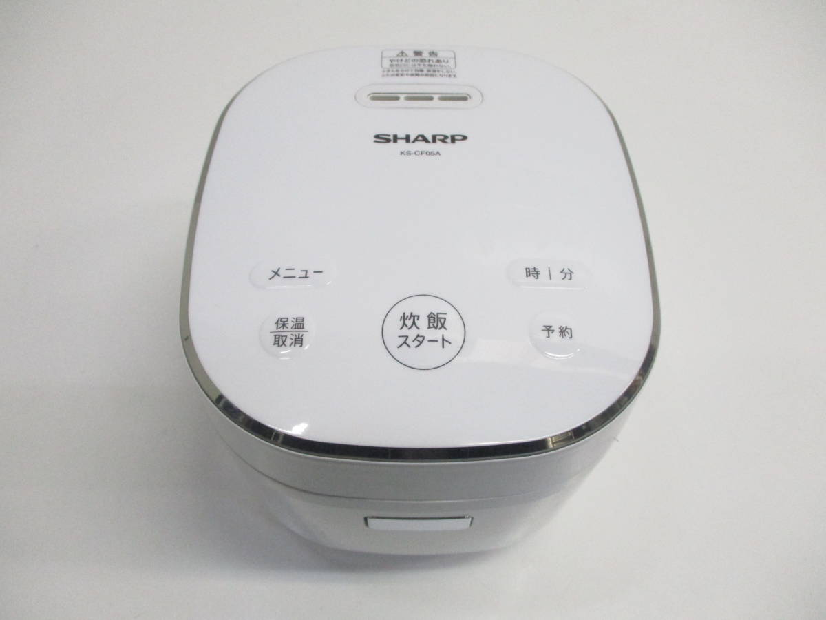 ☆美品 SHARP シャープ ジャー炊飯器 KS-CF05A-W ホワイト 3合炊き 2018年製 1632B☆_画像3