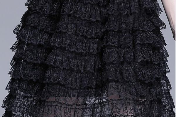 新品 刺繍 総レース チュール 切り替え 結婚式 二次会 演奏会 披露宴 謝恩会 お呼ばれパーティー ドレス ミモレ丈 ワンピース_画像8