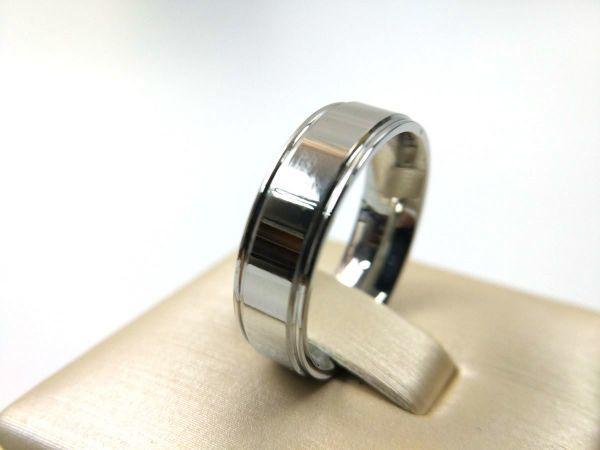 シンプル 溝ライン ステンレス リング 指輪 メンズ シルバーカラー 14号_画像4