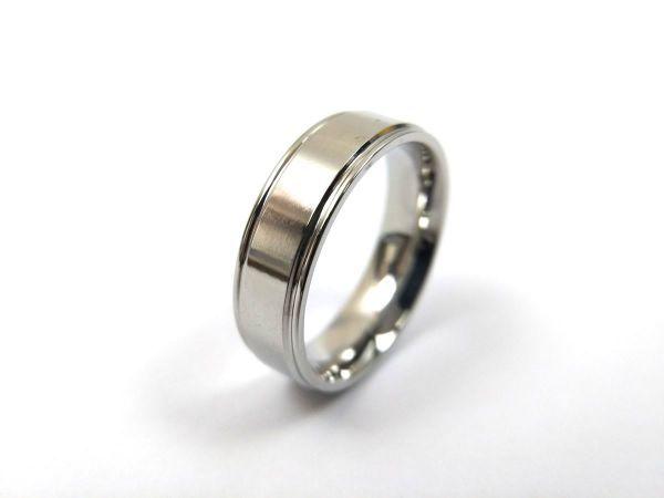 シンプル 溝ライン ステンレス リング 指輪 メンズ シルバーカラー 14号_画像6