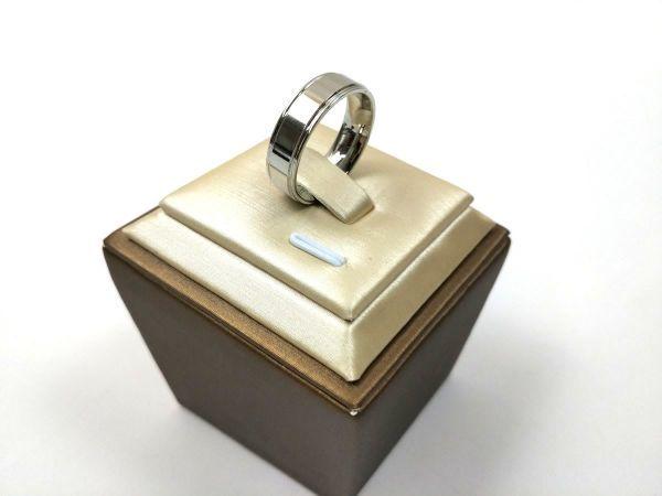 シンプル 溝ライン ステンレス リング 指輪 メンズ シルバーカラー 14号_画像1
