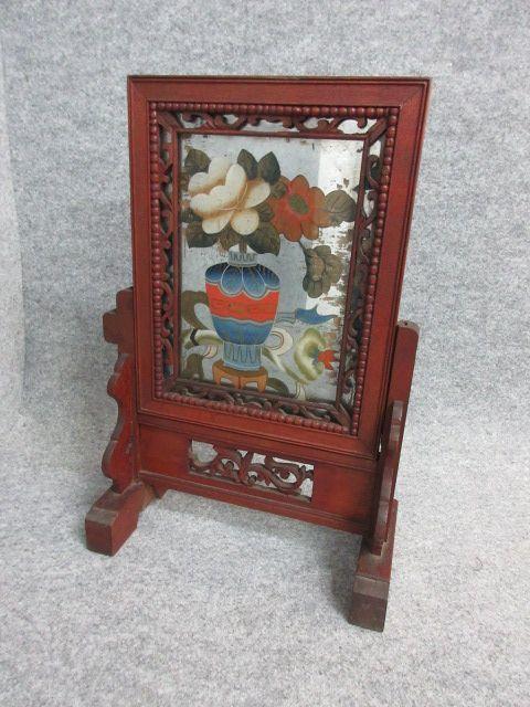 【文】25871 ガラス絵硯屏 衝立文房具すずり箱端渓和紙骨董古物
