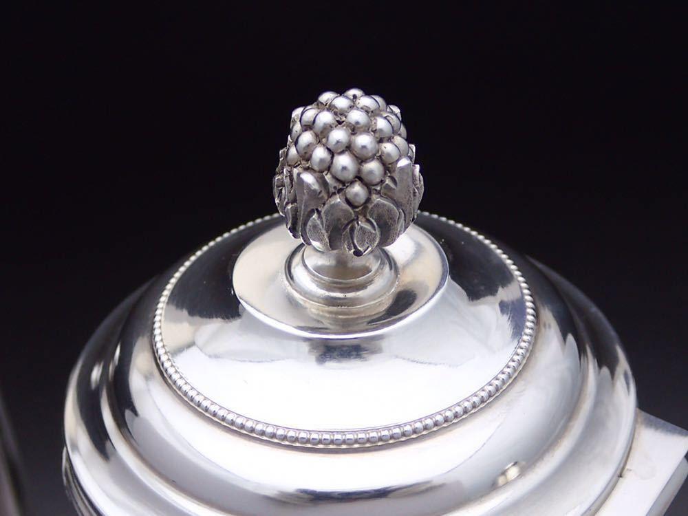 ピュイフォルカ Puiforcat ルイ16世様式 純銀無垢 大型コーヒー&ティーポット 27cm 730g_画像4