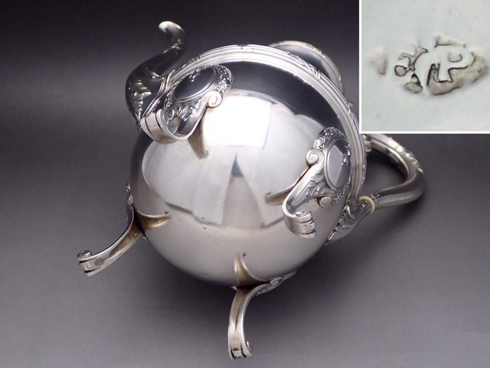 ピュイフォルカ Puiforcat ルイ16世様式 純銀無垢 大型コーヒー&ティーポット 27cm 730g_画像10