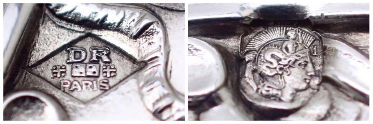 良品 フランス エンパイアスタイル 純銀無垢(シルバー950) オープンソルト4セット スプーン4本と元箱付き 【Roussel-Doutre銀工房】_画像9