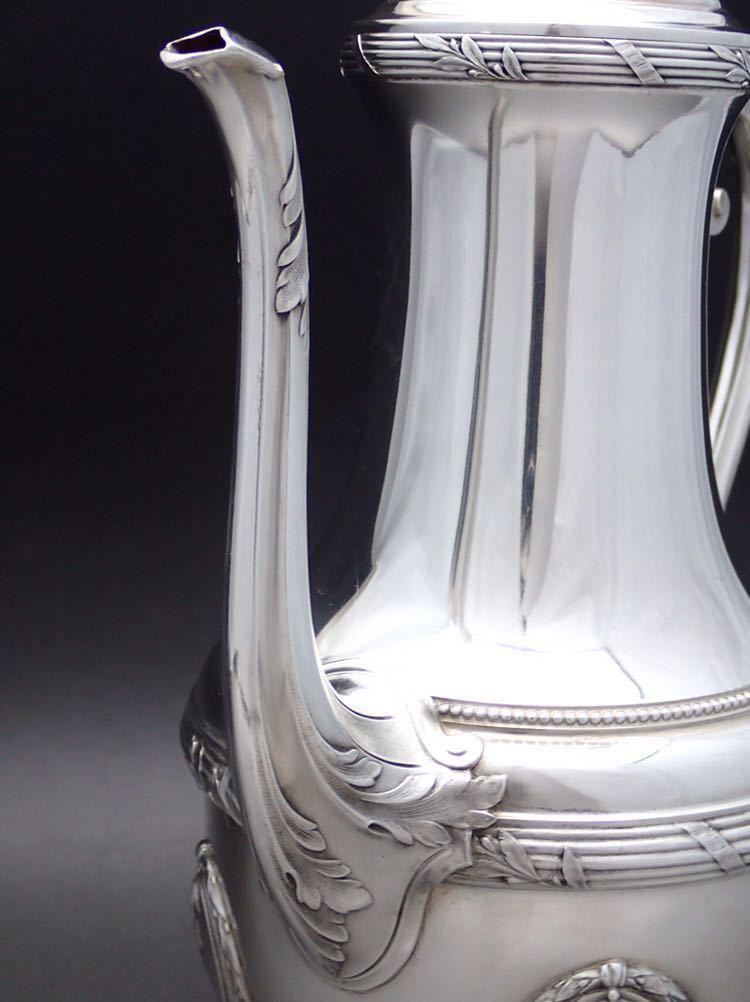 ピュイフォルカ Puiforcat ルイ16世様式 純銀無垢 大型コーヒー&ティーポット 27cm 730g_画像5