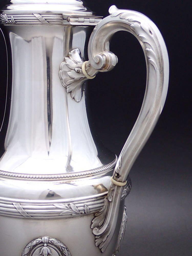 ピュイフォルカ Puiforcat ルイ16世様式 純銀無垢 大型コーヒー&ティーポット 27cm 730g_画像6