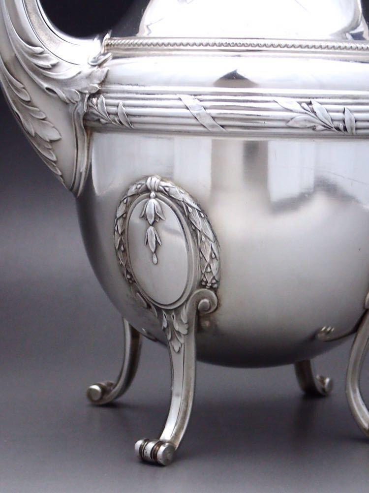 ピュイフォルカ Puiforcat ルイ16世様式 純銀無垢 大型コーヒー&ティーポット 27cm 730g_画像7