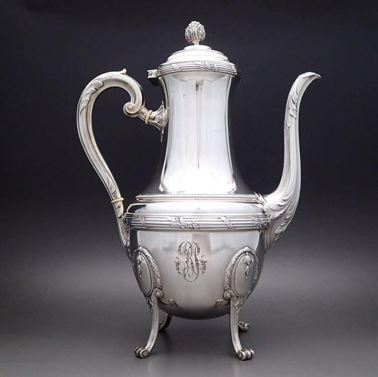 ピュイフォルカ Puiforcat ルイ16世様式 純銀無垢 大型コーヒー&ティーポット 27cm 730g_画像2