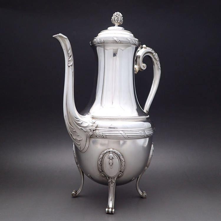 ピュイフォルカ Puiforcat ルイ16世様式 純銀無垢 大型コーヒー&ティーポット 27cm 730g_画像3