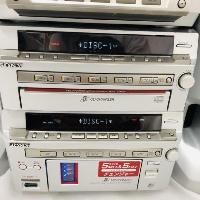 ★1円~★SONY ソニー DHC-MD777 システムコンポ STR-MD777 HMC-MD777 ペアスピーカー/SS-MD777 5CD 5MD 通電確認済_画像3