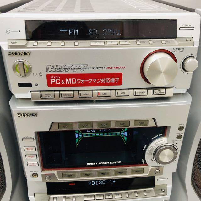 ★1円~★SONY ソニー DHC-MD777 システムコンポ STR-MD777 HMC-MD777 ペアスピーカー/SS-MD777 5CD 5MD 通電確認済_画像2