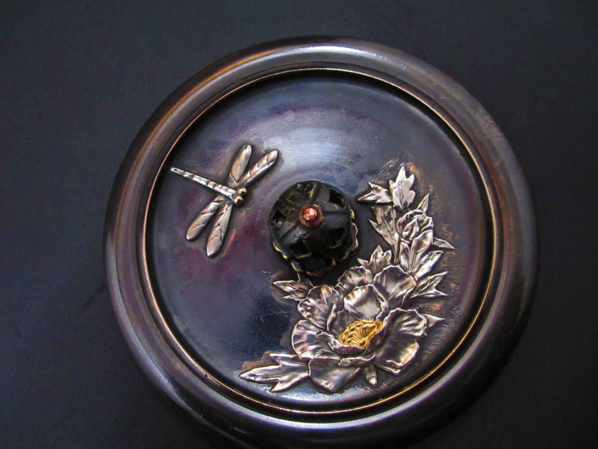 勝虫蜻蛉牡丹花銀細工 黄銅蓋