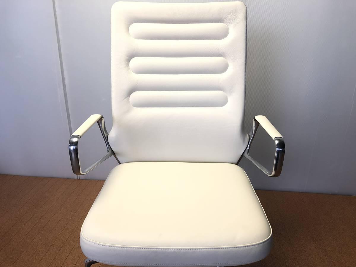■展示品■vitra/ヴィトラ AC4 革デスクチェア リングアーム オフィスチェア ホワイト 椅子■1046_画像5