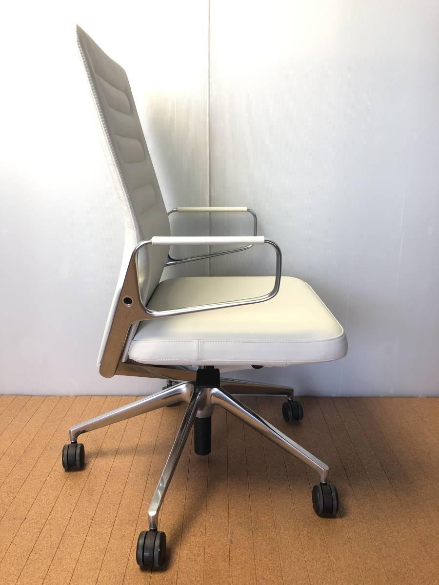 ■展示品■vitra/ヴィトラ AC4 革デスクチェア リングアーム オフィスチェア ホワイト 椅子■1046_画像2