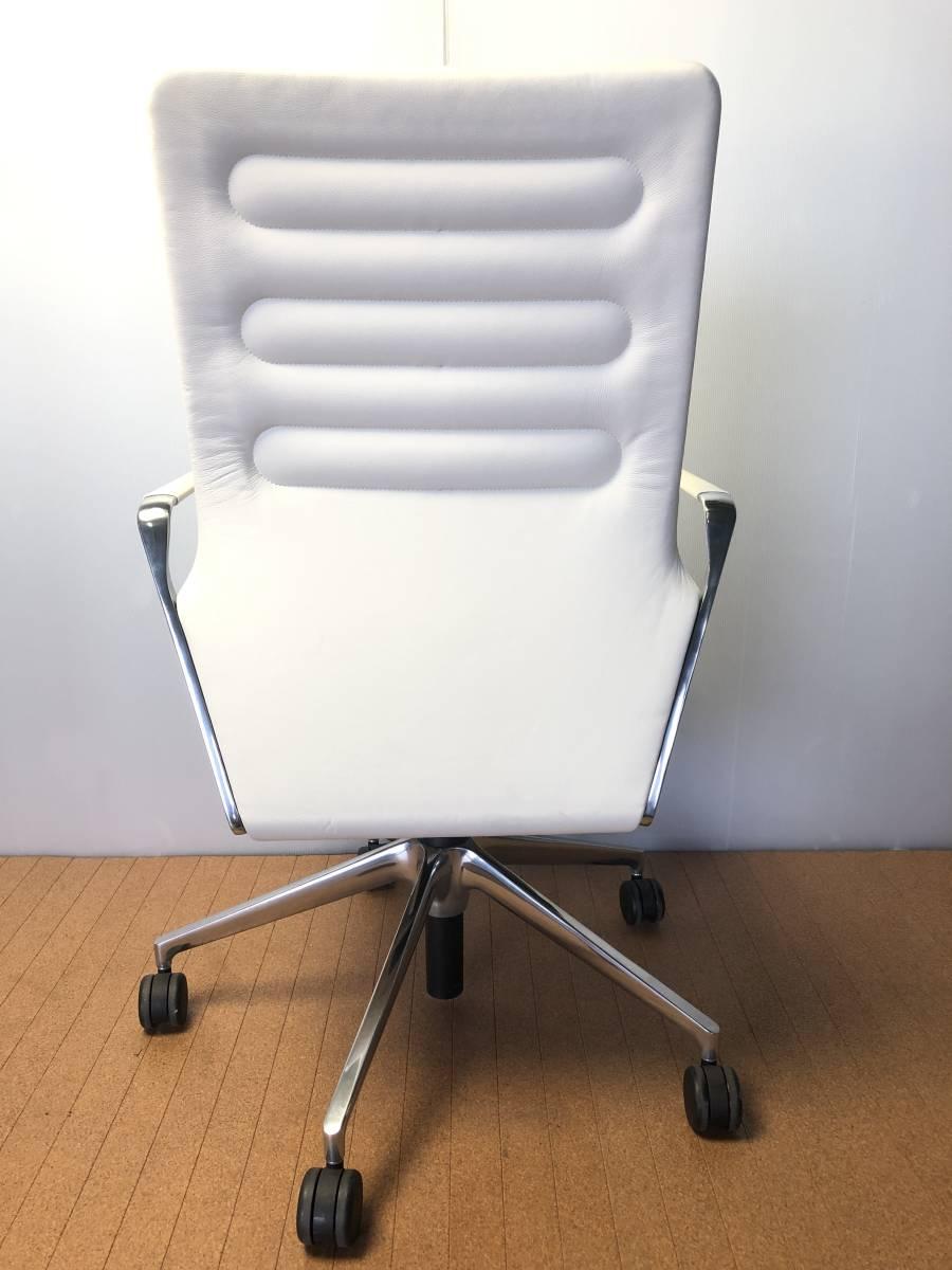 ■展示品■vitra/ヴィトラ AC4 革デスクチェア リングアーム オフィスチェア ホワイト 椅子■1046_画像3