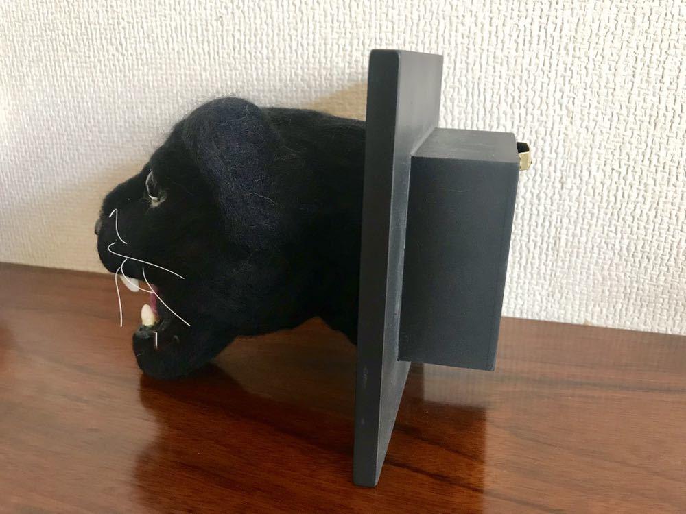 ◆値下げ◆(天才)羊毛フェルト作家様の作られた黒豹の壁掛けです。口にフック有り(鍵かけ等)_画像3
