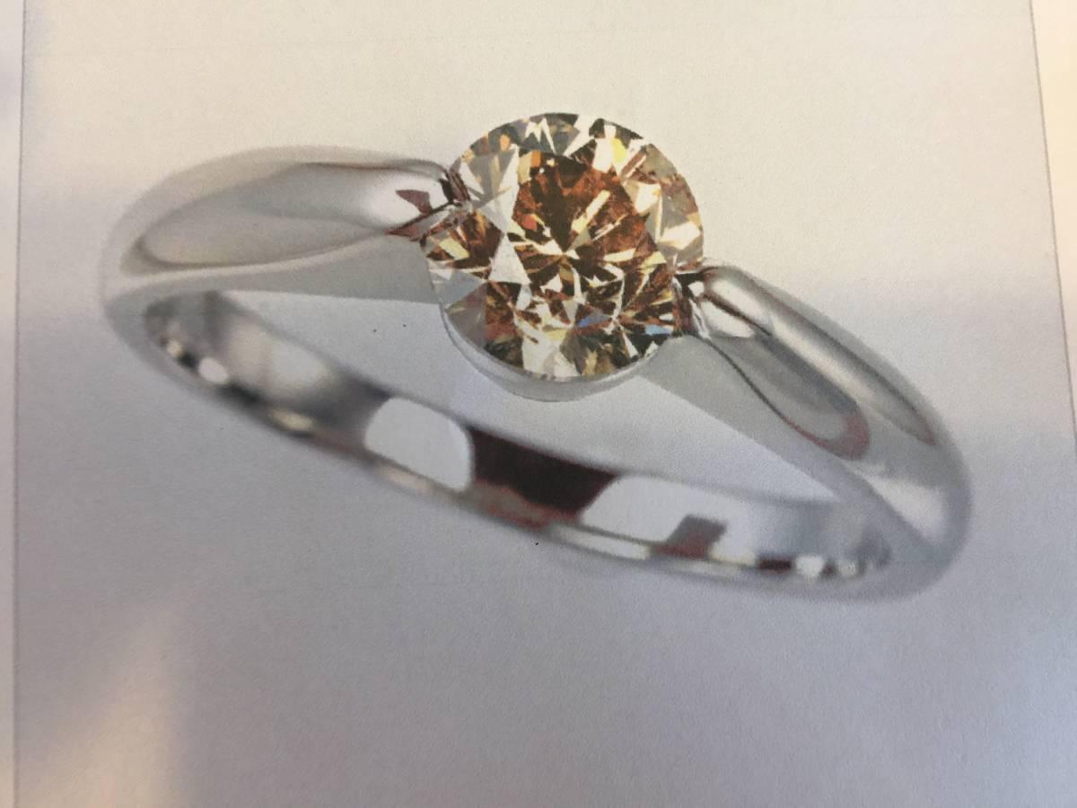 PT950 ファンシーライトブラウンダイヤモンド リング BRD 約1.00ct (SI2)_画像1