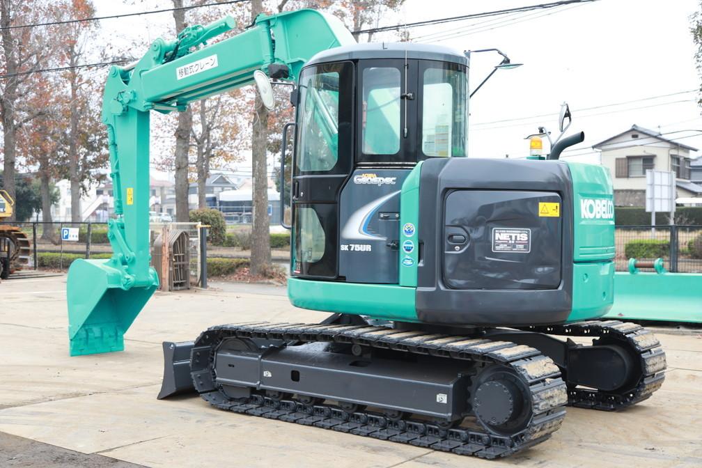 2012年製 コベルコ SK75UR-5 超低騒音型 0.25m3 7トン油圧ショベル 移動式クレーン仕様 マルチレバー付 キャビン エアコン_画像2