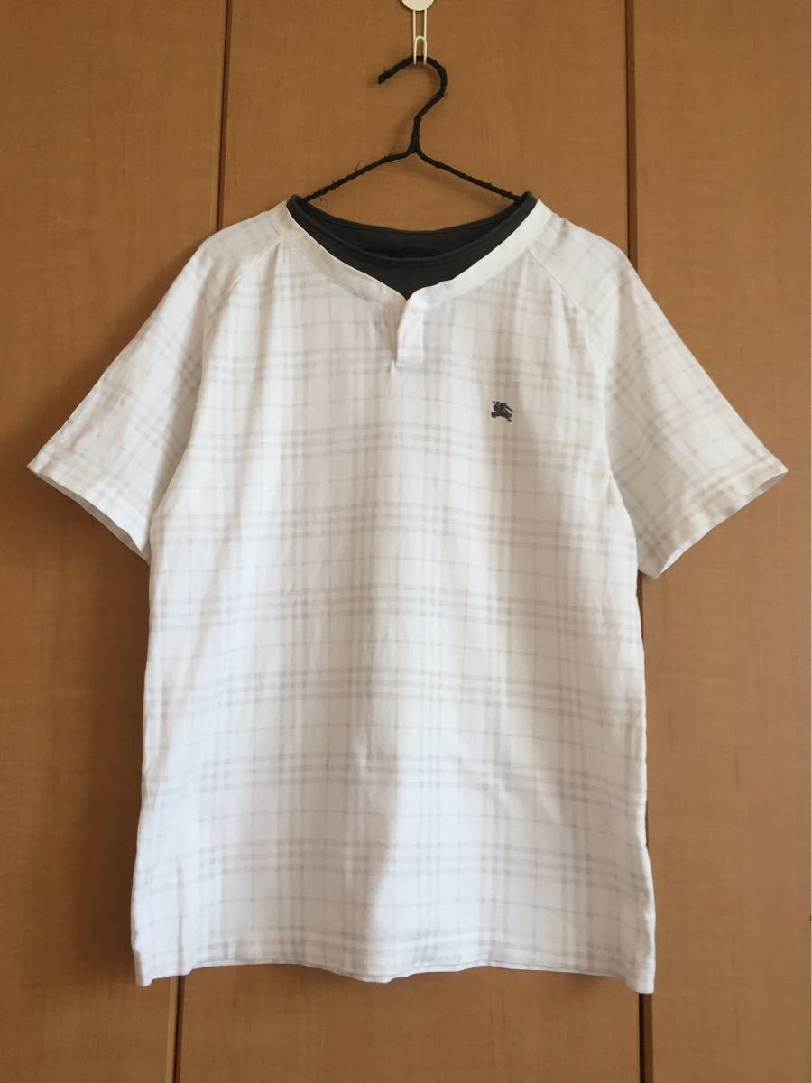 ★バーバリーブラックレーベル★半袖TシャツL★白チェック★三陽商会★日本製★重ね着風★_画像5