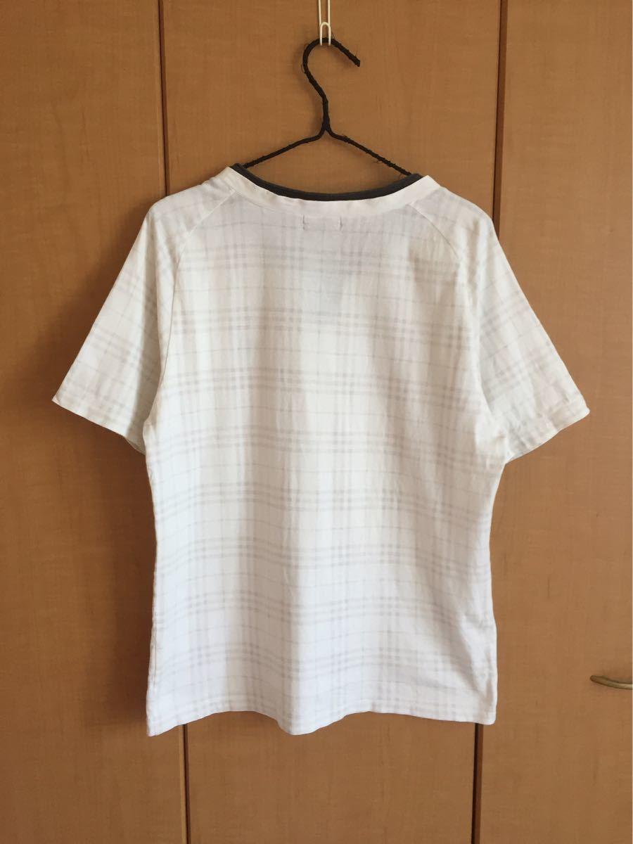 ★バーバリーブラックレーベル★半袖TシャツL★白チェック★三陽商会★日本製★重ね着風★_画像3
